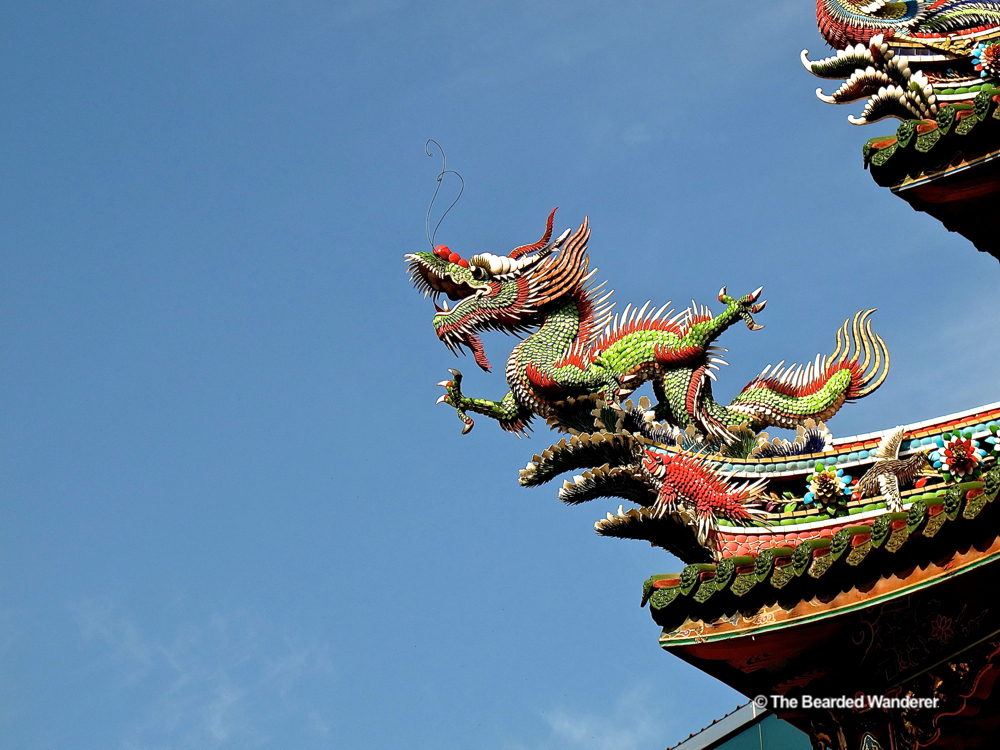 A dragon figurine at Taiwan's Longshan temple. (Will Jackson)