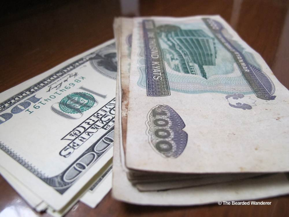 Some American dollars and Myanmar Kyats. (Will Jackson)