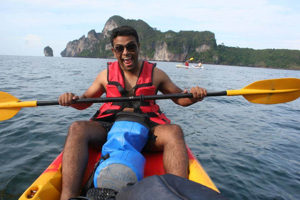Siva really enjoys kayaking.
