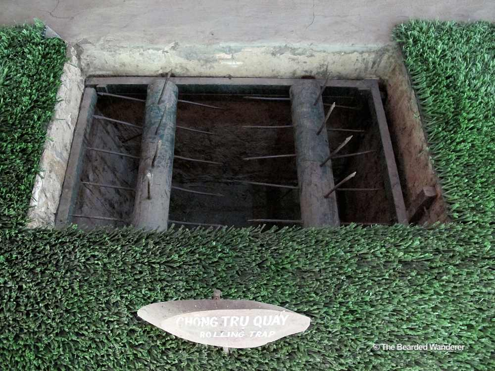 One of the traps on display at the Cu Chi tunnels memorial. (Will Jackson)