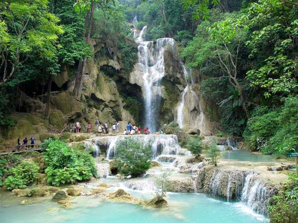 The 60m cascade at the Kuang Si Waterfalls near Luang Prabang. (Will Jackson)